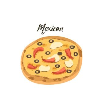 Mexikanische pizza mit jalapeno red hot chili peppers, oliven und kartoffelchips auf käseschicht. fast-food-symbol, street junk meal, snack zum mitnehmen, isolated on white background. cartoon-vektor-illustration