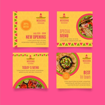 Mexikanische restaurant instagram post sammlung
