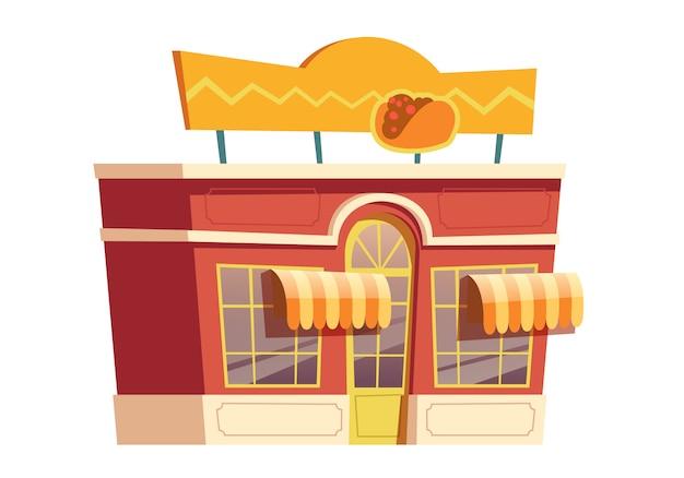 Mexikanische restaurantgebäudekarikatur des schnellimbisses