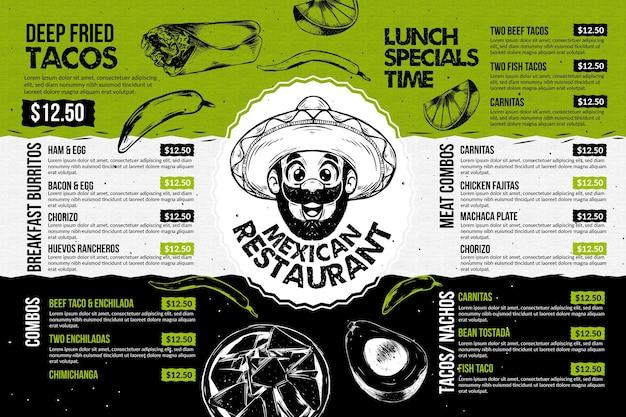 Mexikanische restaurantmenüvorlage