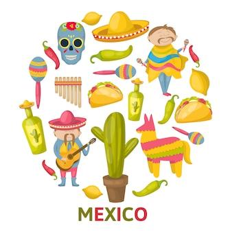 Mexikanische runde zusammensetzung mit lokalisiertem farbigem symbolsatz kombiniert in großer kreisvektorillustration