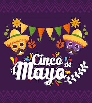 Mexikanische schädel mit hüten von cinco de mayo