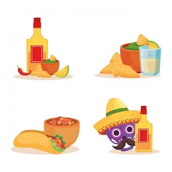 Mexikanische schädel-tequila-flasche und essen