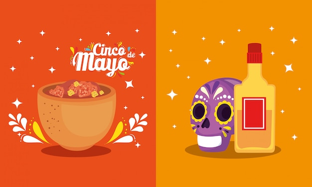 Mexikanische schädel-tequila-flasche und schüssel cinco de mayo