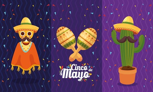 Mexikanische schädelmaracas und kakteen von cinco de mayo