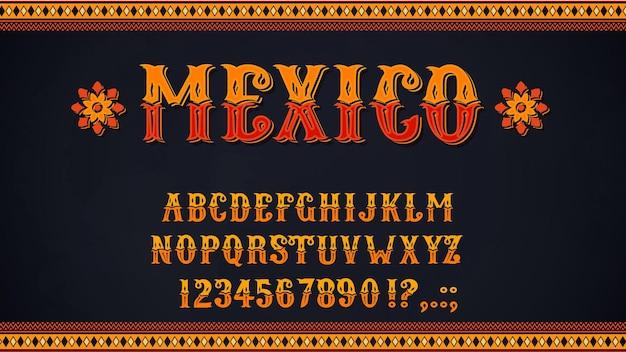 Mexikanische schriftart von buchstaben und zahlen des alphabets