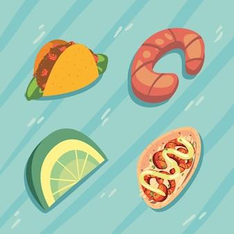Mexikanische tacos vier symbole