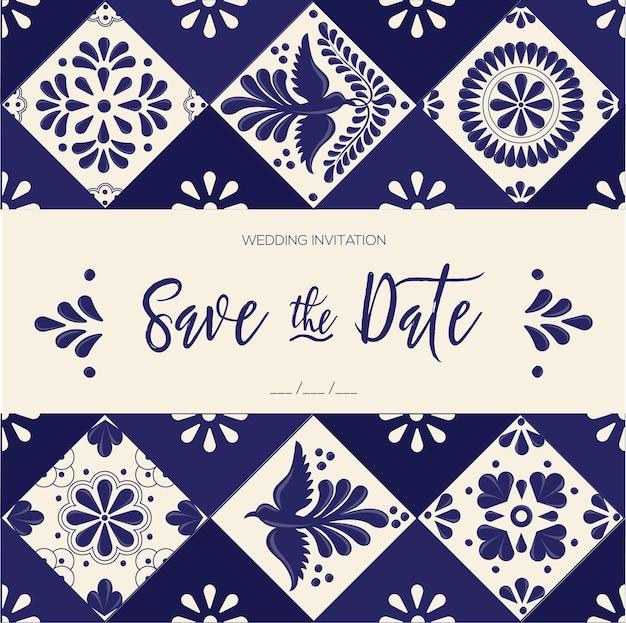 Mexikanische talavera-kacheln - speichern sie die datumskartenvorlage