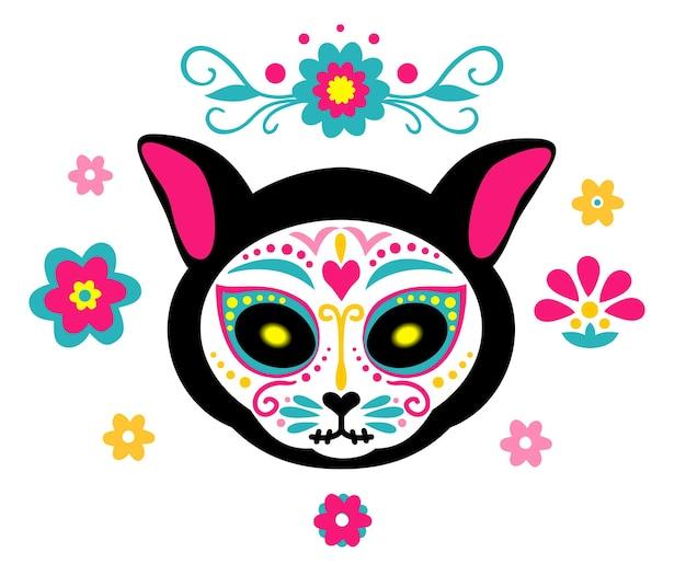 Mexikanische tote katze katzenschädel zuckerkopf bunter feiertagsvektor für tag des toten knochenskeletts