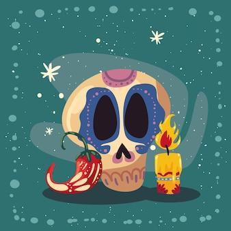 Mexikanische totenkopf-chili und kerze
