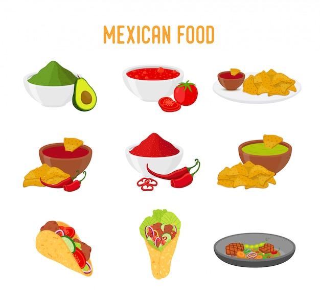 Mexikanische traditionelle küche, taco, nachos, burrito