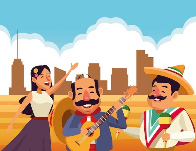 Mexikanische traditionelle kulturikonenkarikatur
