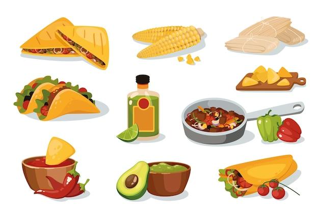 Mexikanische traditionelle lebensmitteldesignelemente eingestellt. sammlung von restaurantmenüs, quesadilla, fajitas, tamale, burrito, guacamole, nachos, taco. isolierte objekte der vektorillustration im flachen cartoon-stil