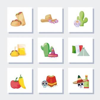 Mexikanische traditionelle satzikonen des bündels