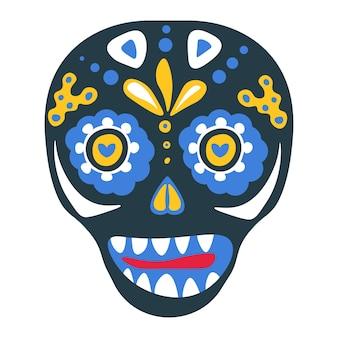 Mexikanische traditionen am tag der toten, halloween-feier. isolierter schädel mit ornamenten und dekorativem laub und flora. zoll auf karneval oder festival in lateinamerika, vektor in flach