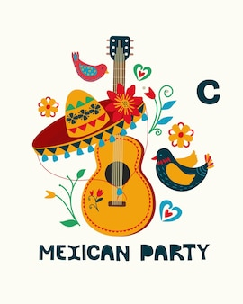 Mexikanische volkskostüme nationalfeiertag folk-stil handgezeichnet mexiko tanzen sombrero-gitarre