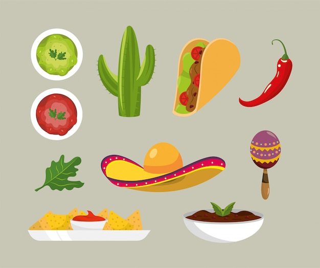 Mexikanische würzige saucen und traditionelles essen