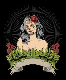 Mexikanische zuckerdame auf weinleseflamme