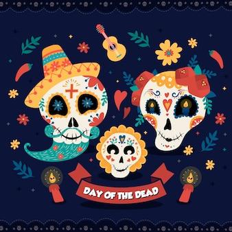 Mexikanische zuckerschädelfamilie