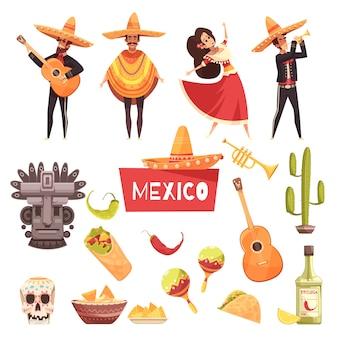 Mexikanischer elementsatz