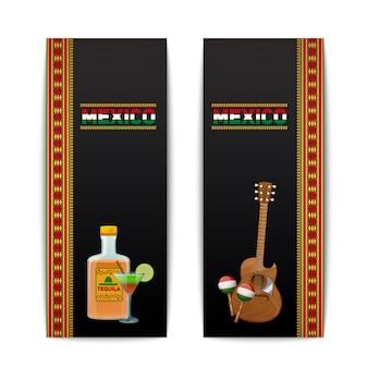 Mexikanischer fahnenvertikalensatz mit tequila-cocktail maraca und gitarre lokalisierte vektorillustration