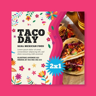 Mexikanischer food square flyer