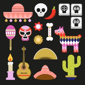Mexikanischer gespenstischer dia de muertos element vector illustration