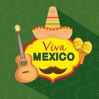 Mexikanischer hut mit gitarre und maracas zur feier des events