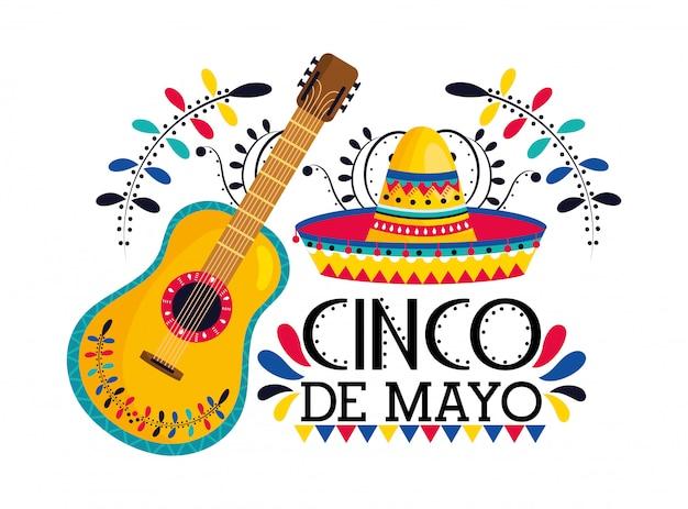 Mexikanischer hut mit gitarre zur ereignisfeier