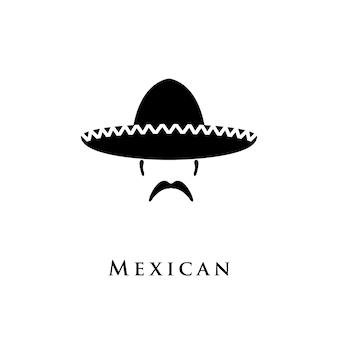 Mexikanischer hut sombrero und schnurrbart.