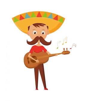Mexikanischer junge mit dem schnurrbart und sombrero, welche die gitarre, mexikanischen grußkartenfeiertag, vektorillustration spielen.
