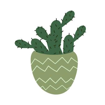 Mexikanischer kaktus in einem topf stacheligen cartoon-kaktus