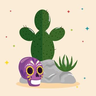 Mexikanischer kaktus und schädel