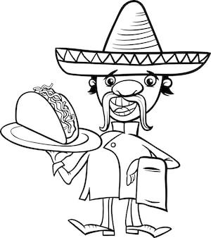 Mexikanischer koch mit taco-malvorlagen