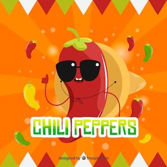 Mexikanischer lebensmittelhintergrund mit paprika