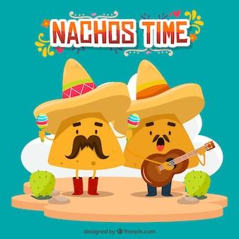 Mexikanischer lebensmittelhintergrund mit singenden nachos