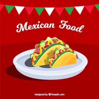 Mexikanischer lebensmittelhintergrund mit zwei tacos