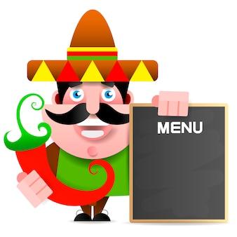 Mexikanischer mann, der menütafel hält