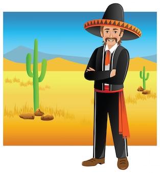 Mexikanischer mann in der wüste