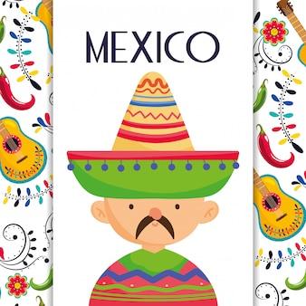 Mexikanischer mann mit hut- und poncho-mexiko-traditioneller ereignisdekorationskarten-vektorkarte
