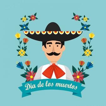 Mexikanischer mariachi mit hut und blumen zum ereignis