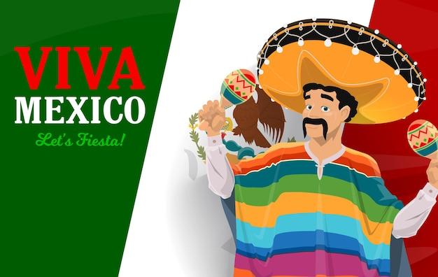 Mexikanischer musiker mit sombrero und maracas