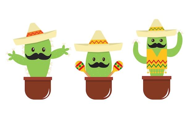 Mexikanischer niedlicher cartoonkaktus mit einem schnurrbart und einem sombrero.