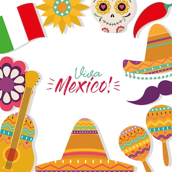 Mexikanischer rahmenikonen-satzentwurf, mexiko-kulturthema