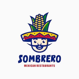Mexikanischer restaurantlogo-maskottchenkarikatur sombrero-hutmais