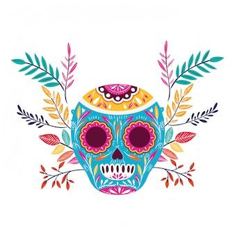 Mexikanischer schädel auf weiß