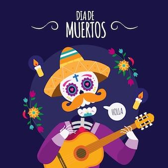 Mexikanischer schädel dia de los muertos, der gitarrenillustration spielt