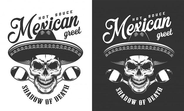 Mexikanischer schädel im sombrero-hut-logo
