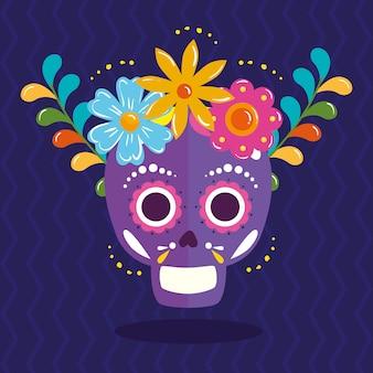 Mexikanischer schädel mit blumenkrone