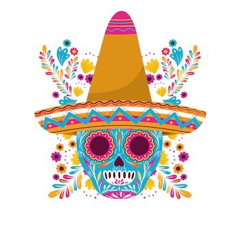Mexikanischer schädel mit hut auf weißer karte